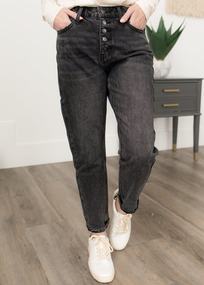 Iona Black High Rise Mom Jeans