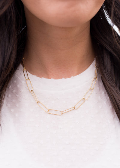 Gold chain style necklace.