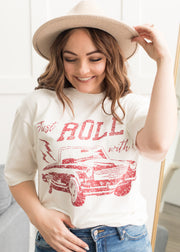 Just Roll With It Ivory Graphic Tee