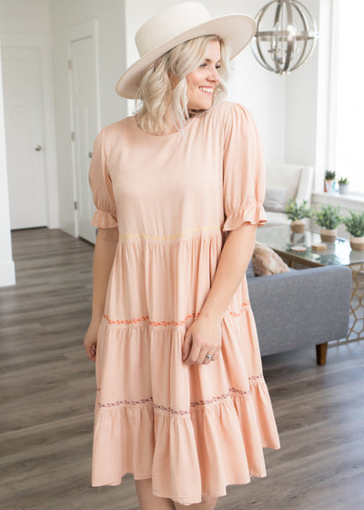 Kaitlyn Peach Embroidered Dress