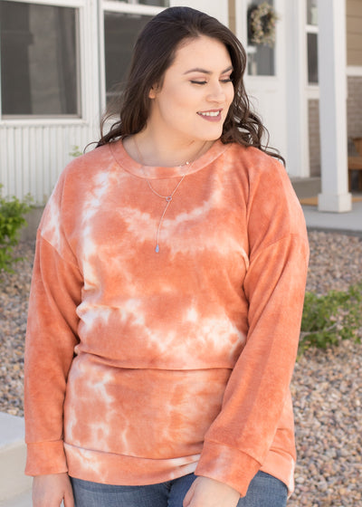 Our orange and white tie-dye sweatshirt.