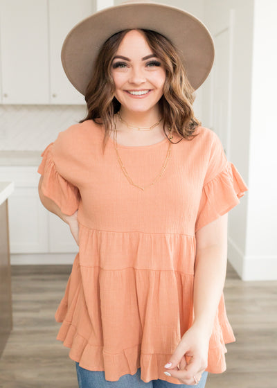 Kimberly Light Rust Ruffle Top