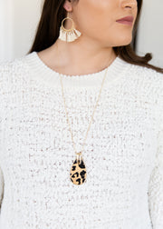 Leopard pattern drop necklace!