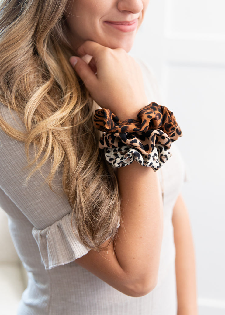 brown, tan and cream leopard pattern scrunchies!