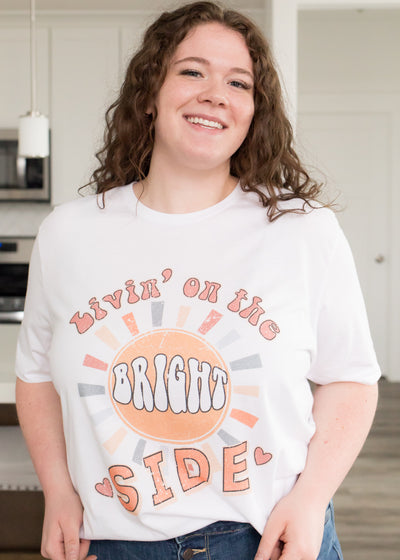 Livin' on the Bright Side White Tee in Curvy