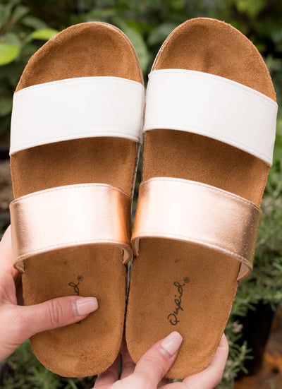 Rose gold and white stripe double strap sandal.
