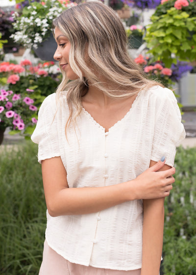 Maren Natural Button Down Top