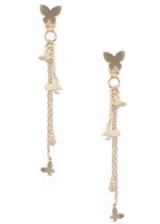 Maria Gold Butterfly Tassel Earrings
