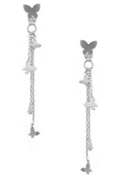 Maria Rhodium Butterfly Tassel Earrings