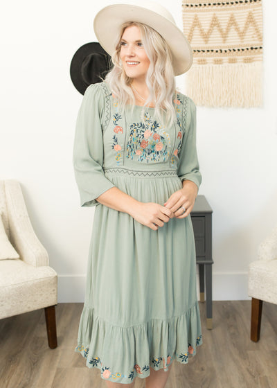 McKenzie Sage Embroidered Dress