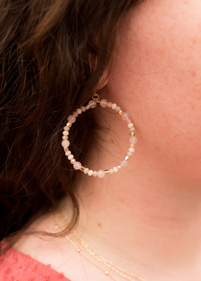 Mollie Beaded Hoop Earring in Pink