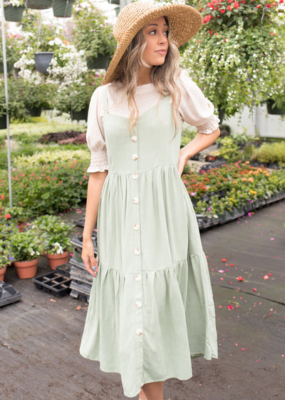 Morgan Fern Green Overall Dress