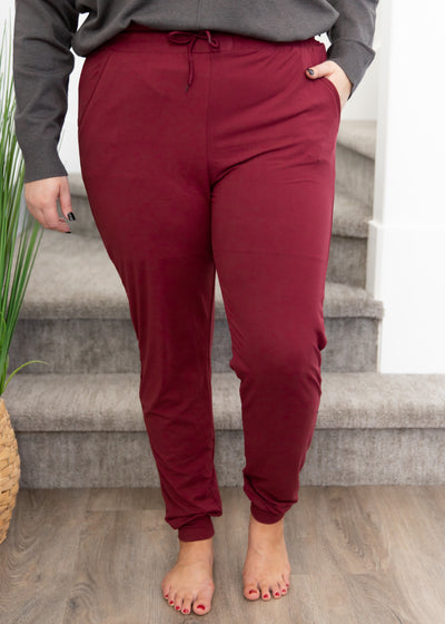Night Owl Burgundy Joggers in Curvy