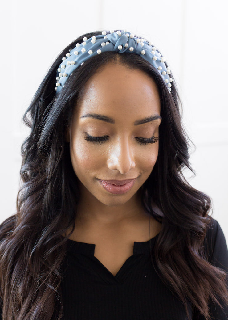 Pearl Headband in Blue