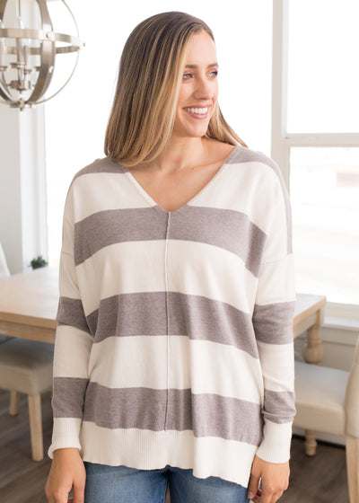 Raven Grey Striped Sweater