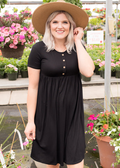 Reyna Black Button Dress