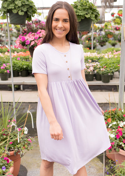Reyna Lilac Button Dress