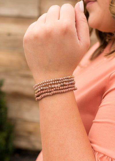 Rose Beaded Stretch Bracelet