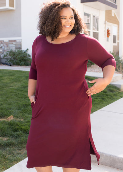 Roxy Burgundy Dress in Curvy