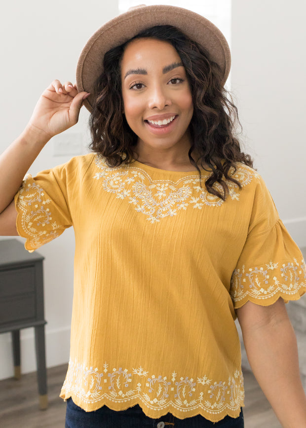 Santa Fe Mustard Embroidered Top