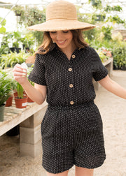 Simple Living Black Dot Jumpsuit