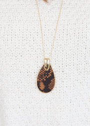 Our snakeskin long chain pendant necklace!