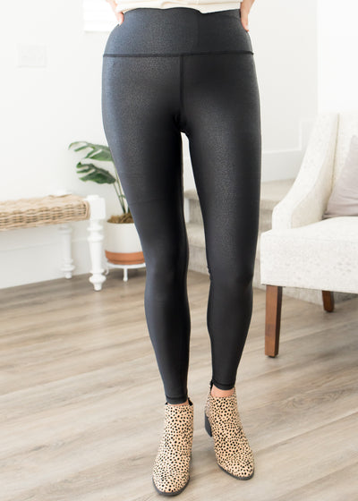 Our faux leather leggings paired with cheetah booties.