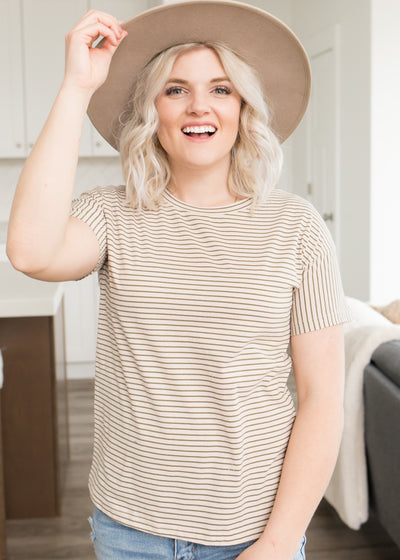Spencer Taupe Striped Top