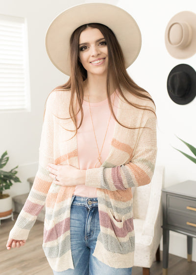 Spring Fling Ivory Striped Cardigan