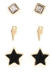 Starlight Black Druzy Stone Earring Set