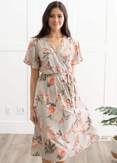 In Bloom Floral Dress in Stone