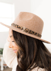 Riley Tan With Leopard Band Hat