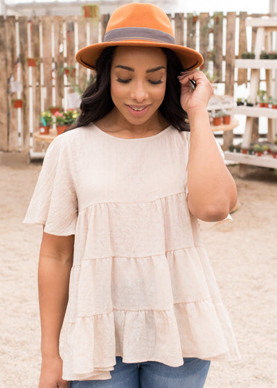Faith Tiered Top in Natural