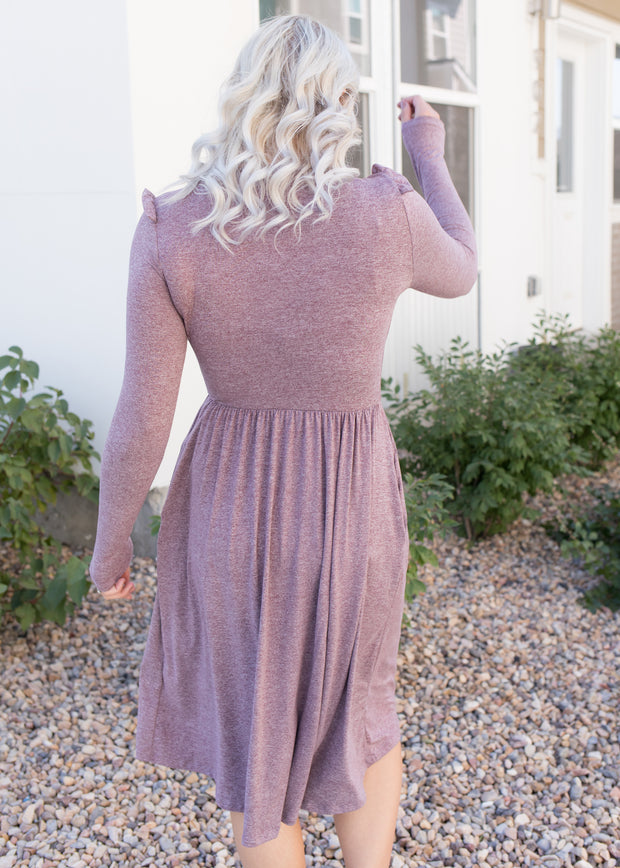 Our heather mauve long sleeve dress paired with booties.