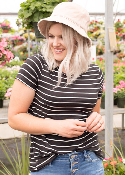 Tessa Black Striped Top