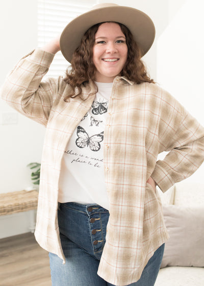 Tori Taupe Plaid Shirt Jacket in Curvy