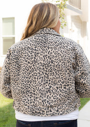 Our leopard pattern, cropped denim plus size jacket paired with jeans.