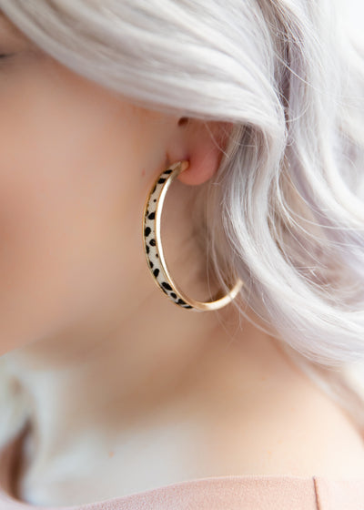 White Leopard Hoop Earrings