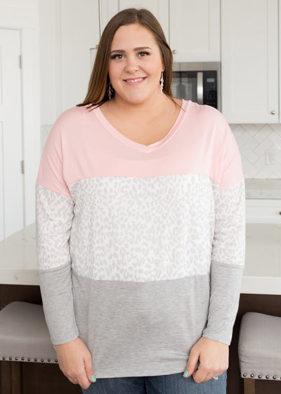 Pink Leopard Color Block Top in Curvy