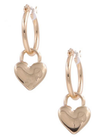 With Me Gold Heart Charm Hoop Earrings