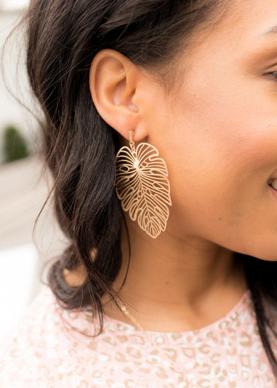 Worn Gold Leaf Earring