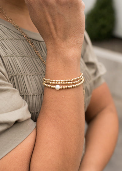 Worn Gold Stretch Bracelet