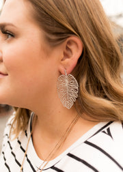 Worn Silver Leaf Earring