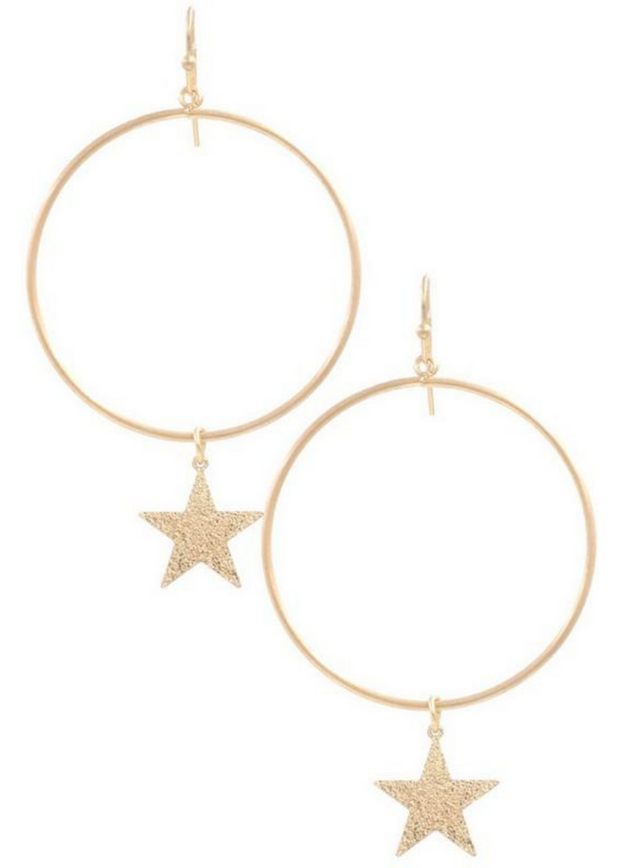 You're A Star Gold Drop Hoop Earrings