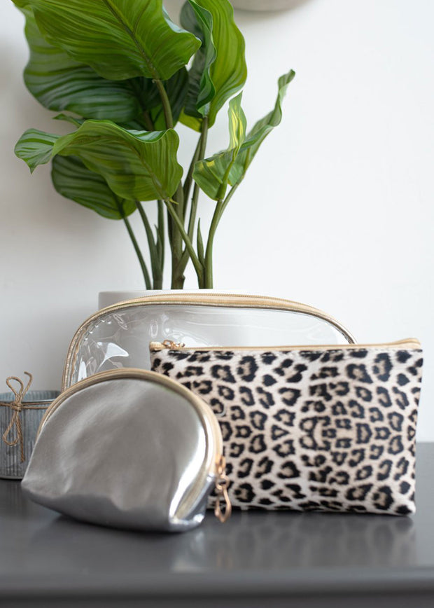Triple Threat Silver Cosmetic Bag Set