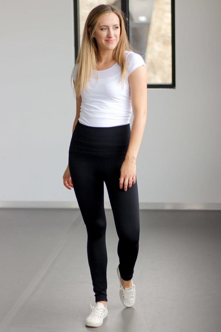 Our tummy control fleece leggings in a variety of colors.