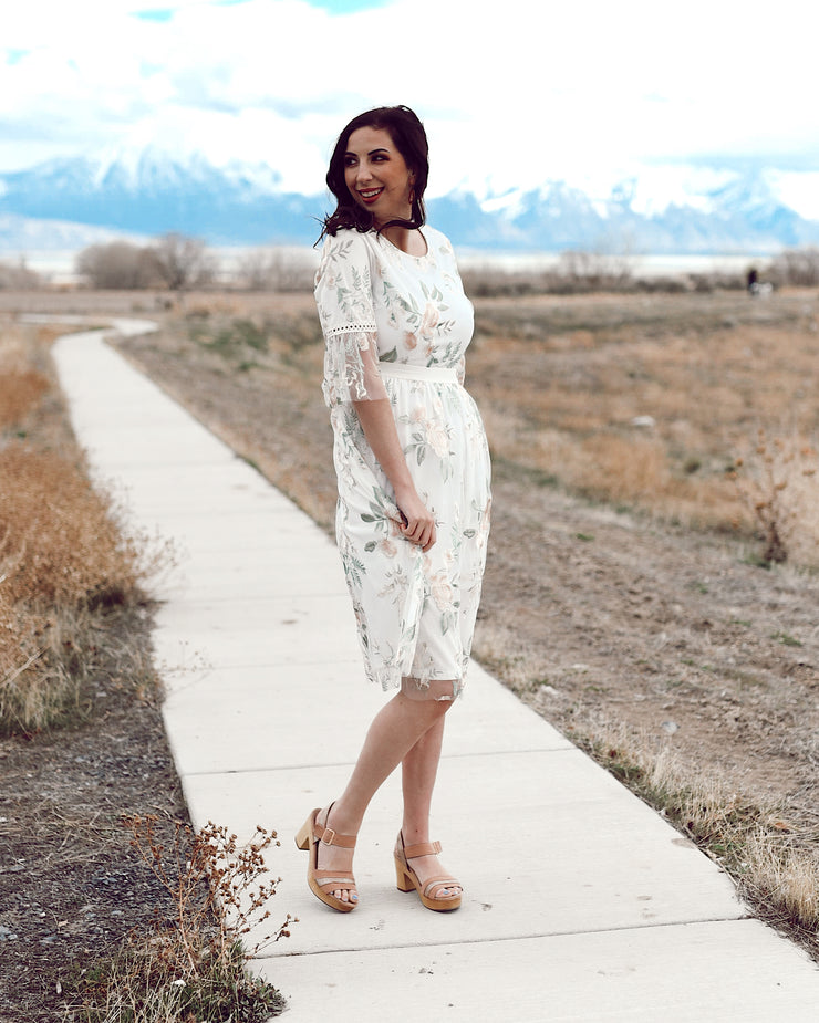 April Flowers Embroidered Lace Midi Dress