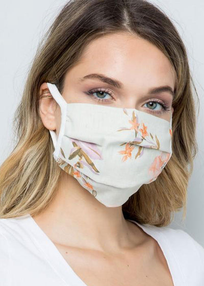 Pleated Sage Floral Mask