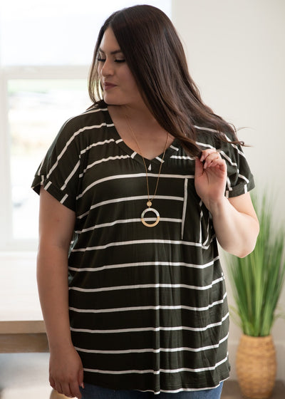 Darian Olive Stripe Top