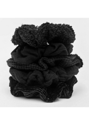 Black Assorted Textured Scrunchies 5-Pack